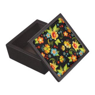 Colorful Vintage Flora Design Black Background Jewelry Box
