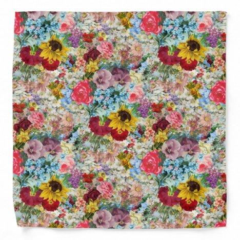 Colorful Vintage Floral Bandana