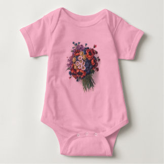 Colorful Vintage Floral Bouquet Baby Creeper Shirt