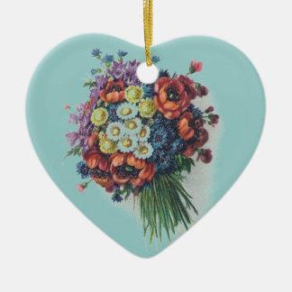 Colorful Vintage Floral Bouquet Heart Ornaments