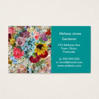 Colorful Vintage Floral Business Card