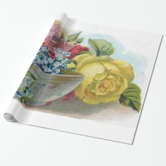 Colorful Vintage Floral Forget Me Not Roses Wrapping Paper