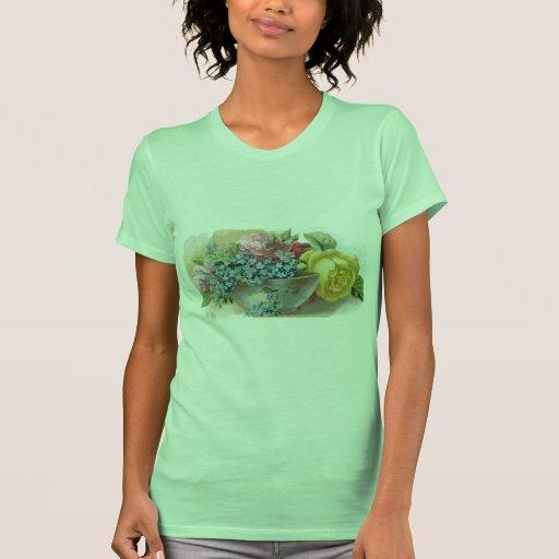 Colorful Vintage Floral Ladies Petite T-Shirt