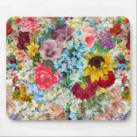 """Colorful Vintage Floral Mouse Pad<br><div class=""""desc"""">colorful, flower, floral, flowery, rainbow, vintage, multicolor, multicolored, flowers, pattern, pansy, sunflower, rose, primrose, daisy, green, garden, antique, blue, pretty, girly, petals, old, pansies, roses, primroses, daisies, gerbera, gerberas, petal, country, rustic, sweet, patterned, spring, summer, summery, granny, chic, repeating, repeat, tiling, tiled, busy</div>"""