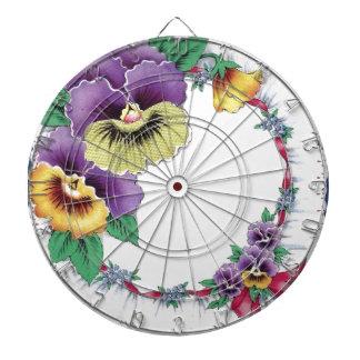 Colorful Vintage Floral Pansy Dartboard