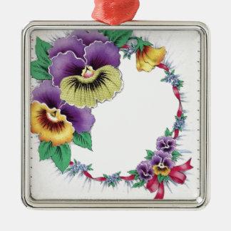 Colorful Vintage Floral Pansy Square Ornament