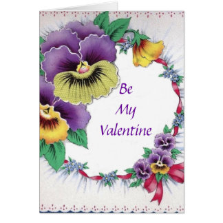 Colorful Vintage Floral Pansy Valentine Card