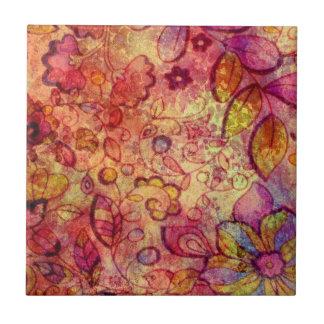 Colorful vintage floral pattern ceramic tile