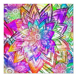 Colorful Vintage Floral Pattern Drawing Watercolor Card