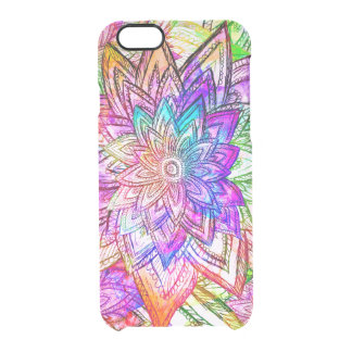 Colorful Vintage Floral Pattern Drawing Watercolor Clear iPhone 6/6S Case
