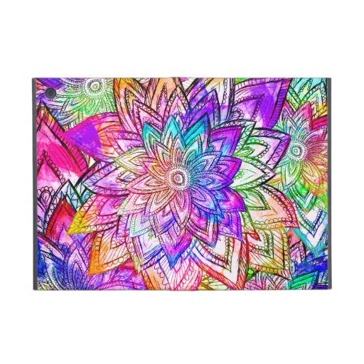Colorful Vintage Floral Pattern Drawing Watercolor iPad Mini Covers