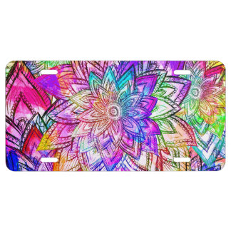 Colorful Vintage Floral Pattern Drawing Watercolor License Plate