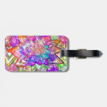 Colorful Vintage Floral Pattern Drawing Watercolor Luggage Tag