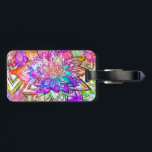 """Colorful Vintage Floral Pattern Drawing Watercolor Luggage Tag<br><div class=""""desc"""">a cool,  bright flowers drawing pattern featuring psychedelic neon colors in pink,  yellow,  blue,  purple with watercolor and tie dye effect on the flowers and petals with paisley,  chevron and stripes pattern. a trendy floral drawing with a girly touch. Get this,  for a fresh summer!</div>"""