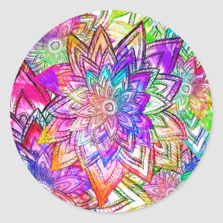 Colorful Vintage Floral Pattern Drawing Watercolor Classic Round Sticker