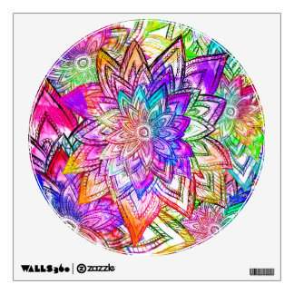 Colorful Vintage Floral Pattern Drawing Watercolor Wall Sticker