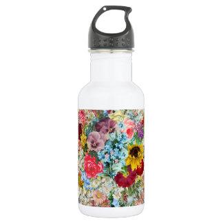 Colorful Vintage Floral 18oz Water Bottle
