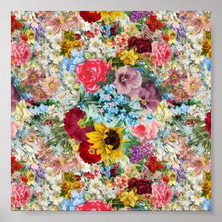 Colorful Vintage Floral Poster