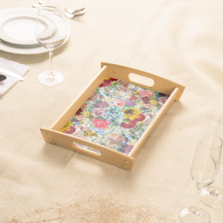 Colorful Vintage Floral Serving Tray