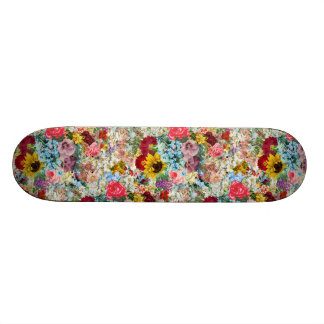 Colorful Vintage Floral Skateboard