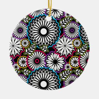 Colorful vintage flowers black background ceramic ornament
