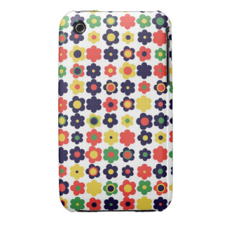 colorful vintage flowers Case-Mate iPhone 3 case