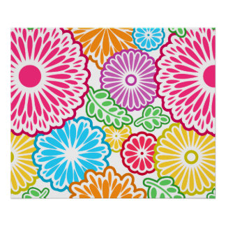 Colorful vintage flowers white background poster
