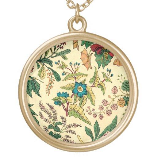 Colorful Vintage Garden Floral Round Pendant Necklace