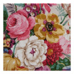Colorful Vintage Girly Roses Painting Floral Poster