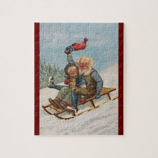 Colorful vintage gnomes on a sleigh puzzle