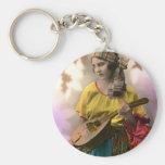 Colorful Vintage Gypsy Girl Keychain