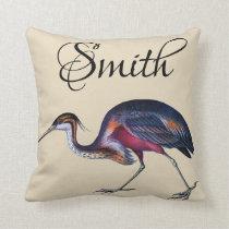 Colorful Vintage Heron Throw Pillow