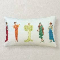 Colorful Vintage Hollywood Fashion Models Lumbar Pillow
