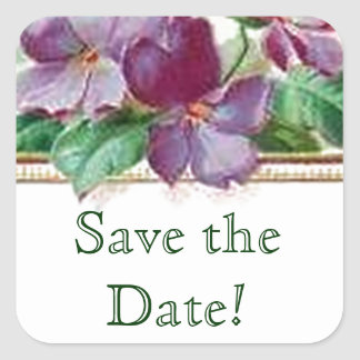 Colorful Vintage Inspired Save the Date Wedding Square Sticker