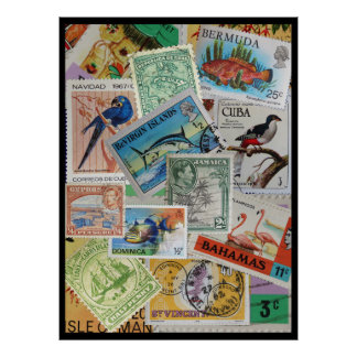 Colorful Vintage Island Stamps Poster Print