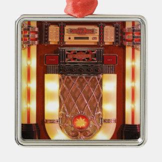 Colorful Vintage Jukebox Square Metal Christmas Ornament