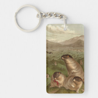 Colorful vintage marmot illustration keychain