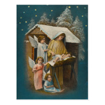 Colorful vintage nativity scene card