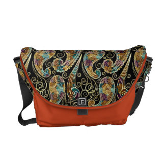 Colorful Vintage Ornate Paisley Design Messenger Bag