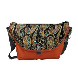 Colorful Vintage Ornate Paisley Design Messenger Bags