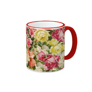 Colorful Vintage Packed Roses Ringer Coffee Mug
