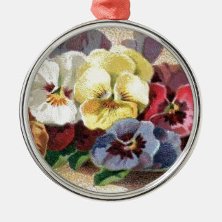 Colorful Vintage Pansies Premium Round Ornament