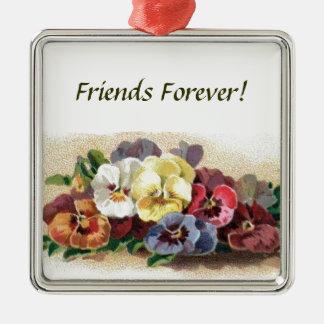 Colorful Vintage Pansies Premium Square Ornament