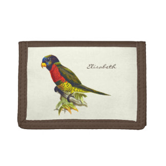 Colorful vintage parrot illustration name tri-fold wallets