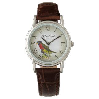 Colorful vintage parrot illustration name wristwatch