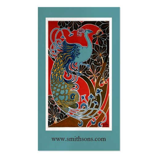 Colorful Vintage Peacock Business Card