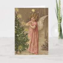 Colorful vintage pink Christmas angel card