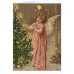 Colorful vintage pink Christmas angel card