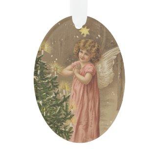 Colorful vintage pink Christmas angel decor