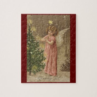 Christmas Themed Colorful vintage pink Christmas angel puzzle